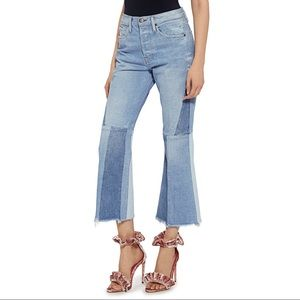 FRAME | Le Panel Tow-Tone Crop Flared Jeans 31